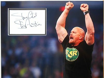 WWE legend - STONE COLD STEVE AUSTIN personally signed 16x12 - Mounted & matted