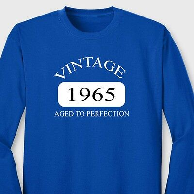 Vintage 1965 Funny Birthday T-shirt Aged To Perfection Antique Long Sleeve Tee