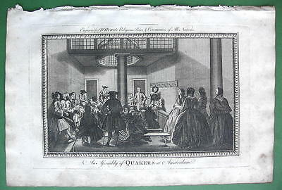 AMSTERDAM Assembly of Quakers - 1780 Antique Print Copperplate