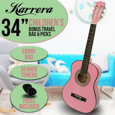 New Pink Childrens Acoustic Guitar Ideal Kids Gift