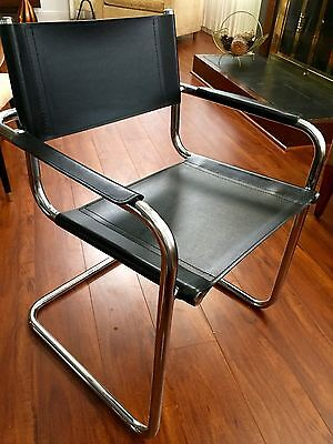 Matteo Grassi Italian LEATHER CHROME BAUHAUS CANTILEVER CHAIRS Mid Century