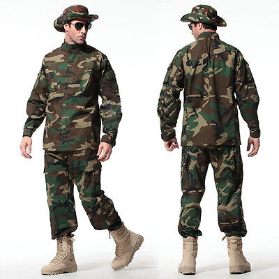 Woodland Camo Camouflage Paintball Combat Suit Airsoft Uniform Sets-Jacket Pant
