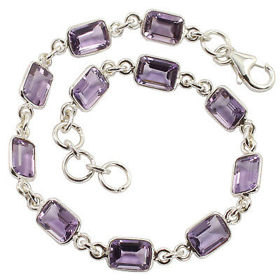 925 Solid Sterling Silver Natural Amethyst Gemstones Amazing Bracelet 8 Inches