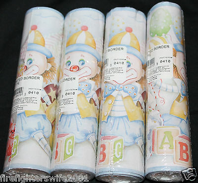 Baby PLAYTIME ABC Circus pre-pasted border 4 packs clowns bears new
