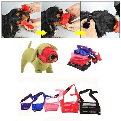Pet Dog Adjustable Mask Bark Bite Mesh Mouth Muzzle Grooming Anti Stop Chew US