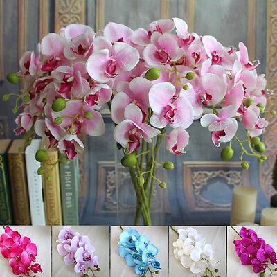 Artificial Butterfly Orchid Phalaenopsis Silk Flower Home Wedding Decor Bouquet