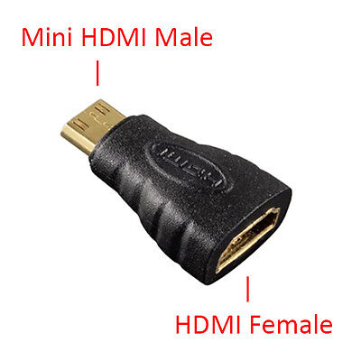 Mini HDMI (Type C) Male to Type A Female Adapter Converter 1080p 4K HDTV
