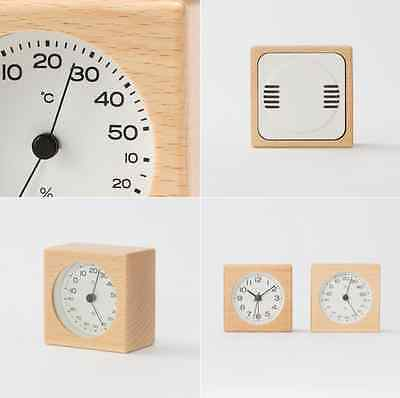 F/S MUJI Woodden Thermometer & Hygrometer Simple Square Natural color Beechwood