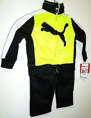 Puma - Kids - Toddler - 12 Months - 2 Piece - Black - Neon - Track Suit - New