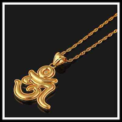 OM Good fortune Sacred spiritual Icon pendant necklace Indian Gold plated Aum