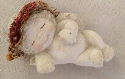 "White Blue 3"" Sleeping Dreamsicle Angel Figurine With Right Hand on Floor"