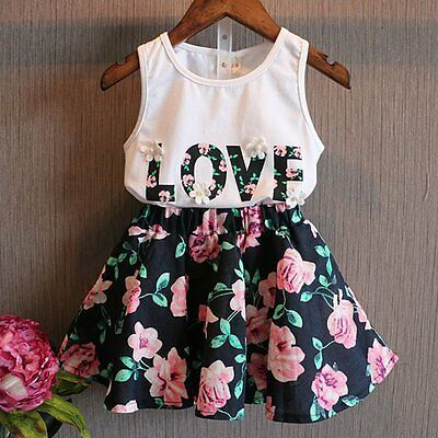 2PCS Toddler Kids Baby Girls T-shirt Tops+Floral Skirt Dress Clothes Outfits Set