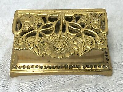 Small Vintage French Rococo Floral Embossed Brass Trinket Pill Stamp Box