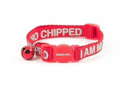 Ancol Rec Alert Cat Collar I Am microcipped with Safety Buckle