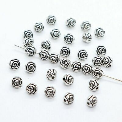140/1000pcs Tibetan Silver 4mm Big Hole Filigree Hollow Tube Spacer Beads