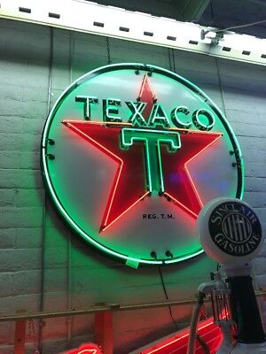 1940s Original Texaco Logo Porcelain Sign W/ restored Neon Animated Blinking