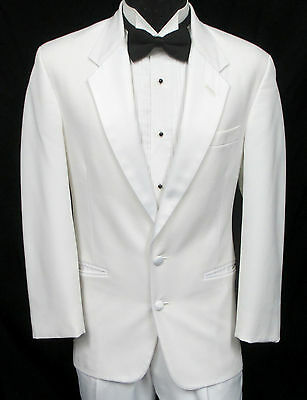 White Two Button Satin Lapel Tuxedo Jacket Prom Wedding Cruise Formal Mason