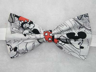 Mickey Mouse Bow tie / Mickey Mouse on White / Vintage Comic / Pre-tied Bow tie