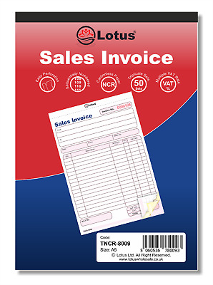 Triplicate Sales Invoice Book NCR Carbonless Preprinted 50 Sets Serially Number
