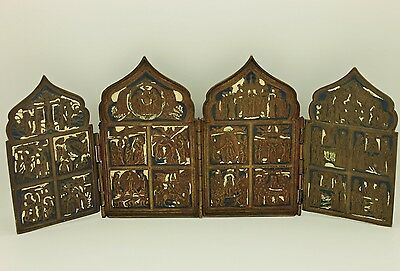 Antique Original Perfect Handmade  Enamel Russian Bronze Written Amazing Icons
