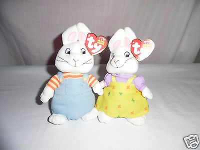 Max & Ruby Ty Beanie Babies Boy & Girl Rabbit Nickelodeon Tv Show With Ear Tags