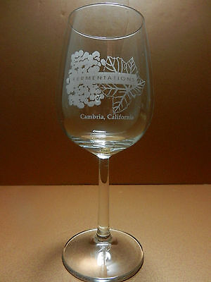 Fermentations Stemmed Wine Glass Cambria California Etched