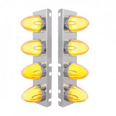 Peterbilt 8 LED Front Air Cleaner Brackets (PAIR) Watermelon Amber/Clear