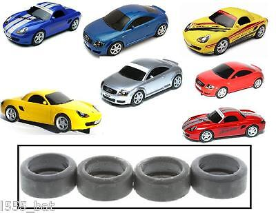 New Genuine Scalextric Spares W8909 Tyres 4 Pack For Porsche Boxster & Audi TT