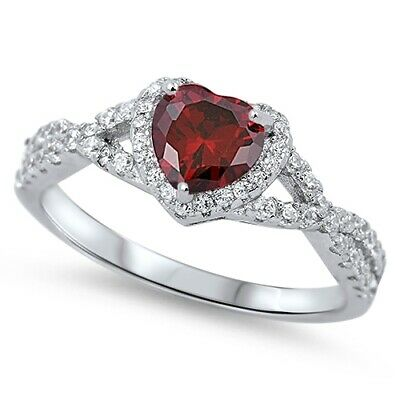 .925 Sterling Silver Heart Shape Simulated Garnet CZ Promise Ring Size 4-12 NEW