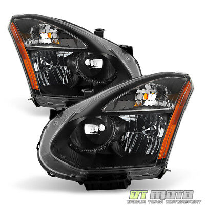 Black For 2008-2013 Rogue 14-15 Select Halogen Headlights Headlamps Left+Right