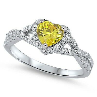 .925 Sterling Silver Heart Yellow Clear CZ Fashion Promise Ring Size 4-12 NEW