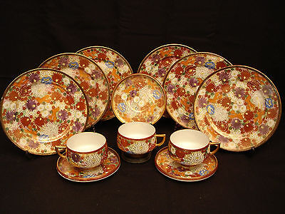 MARKED Kutani JAPANESE MEIJI KUTANI TEA SET EGGSHELL CUPS & SAUCERS & PLATES