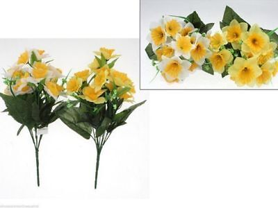 12 x Bunch Artificial Flowers 32cm Daffodil 7 head bulk wholesale lot