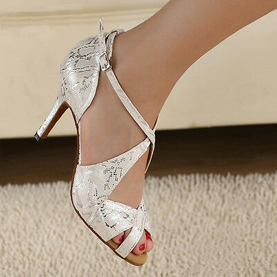 NEW Adult Women's White Satin Latin dance shoes ballroom Salsa Square shoes 85mm