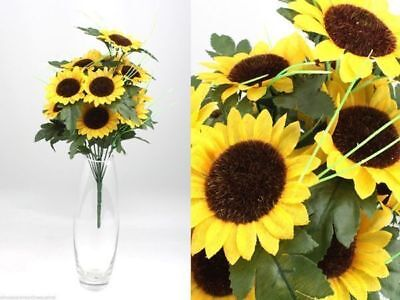 12 x Bunch Artificial Flowers 36cm Sunflower 12 head bush bulk wholesale lot