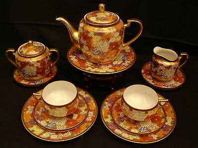 MARKED Kutani JAPANESE MEIJI KUTANI TEA SET POT EGGSHELL CUPS & SAUCERS & PLATES