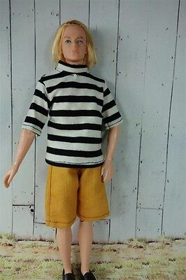 Barbie friend Ken Doll clothes set 2 pcs black&white strips and shorts# KK-11