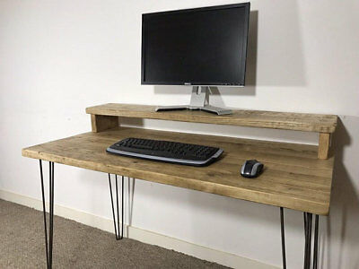 Reclaimed Pine Desk & Monitor Stand Solid Wood Metal Hairpin Legs
