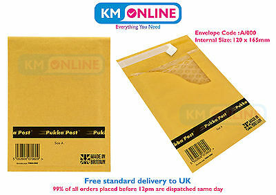 A000 / A Size Bubble Padded Gold Envelope Mailing Post Bag 120x165mm Pukka Pad