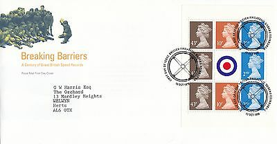 (85725) GB FDC Breaking Barriers Booklet Pane - Bureau 13 Oct 1998