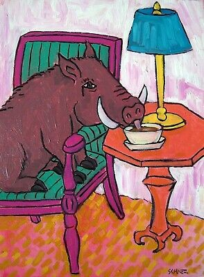 pig sowlly coffee cafe art  abstract folk pop ART   13x19 painting GLOSSY PRINT