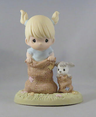 Best Spuds Precious Moments Figurine Girl Dog Potato Sack Race Pigtails Puppy