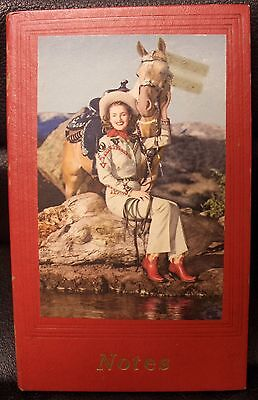 Dale Evans (look alike?)  Notepad, colored picture with horse, Vintage! Unused!