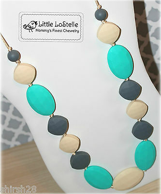 Nursing Necklace Teething Jewelry Silicone Chewelry Turquoise Gray Baby Teether
