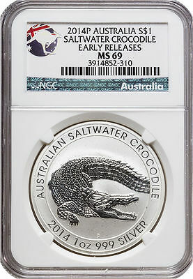 2014 P Australia 1 oz Saltwater Crocodile NGC MS69 Early Releases - Popular Coin