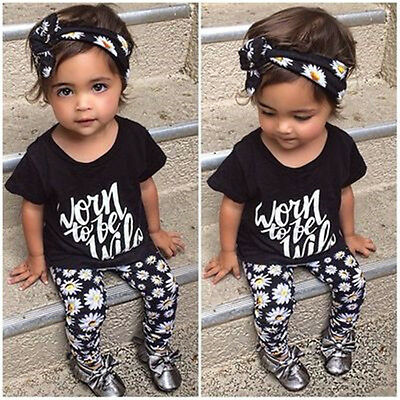 Toddler Kid Girl Baby Outfits Headband+Top T-shirt+Flowel Pants Clothes Set 3pcs