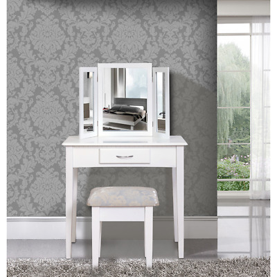 Mobili Rebecca® Dressing Table Vanity Table White Drawer 3 Mirrors Stool Bedroom
