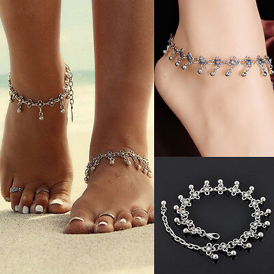 Hot Women Anklet Silver Bead Chain Ankle Bracelet Barefoot Beach Foot Jewelry