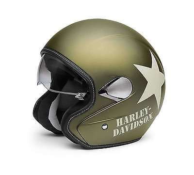 Harley Davidson Military Retro 3/4 Helmet Olive Gold Medium