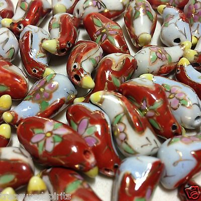 Red and White Porcelain Hand Painted Bird Beads, 21x10mm (Pack of 3)